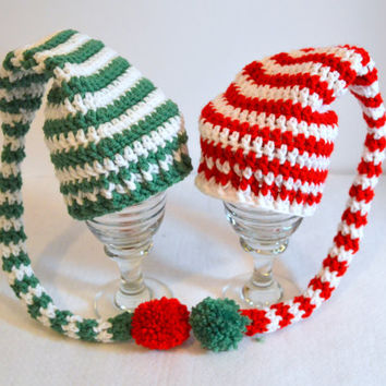 Newborn Elf Hats, Twin Hat Set, Red and Green Christmas Hat, Long Tail Pixie Hat, Photo Prop