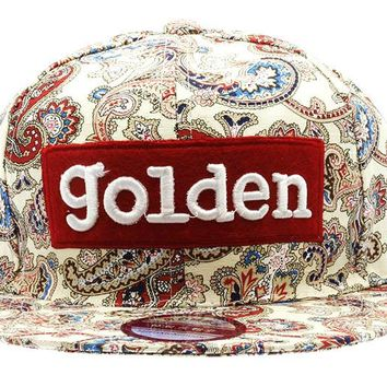 Red Paisley Golden Hat And Cap