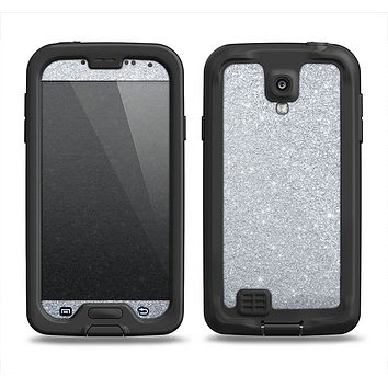 The Silver Sparkly Glitter Ultra Metallic Samsung Galaxy S4 LifeProof Nuud Case Skin Set
