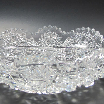 American Brilliant Period hand Cut Glass divided 2 handled dish
