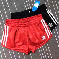 Adidas women Fitness running yoga shorts pants black stripe H-YF-MLBKS