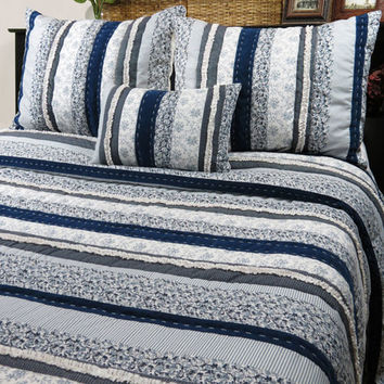Vintage House by Park B. Smith NAPAQ3-DEN Denim Napa Full and Queen Quilt