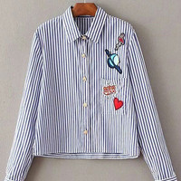 Blue And White Lapel Stripe Applique Blouse