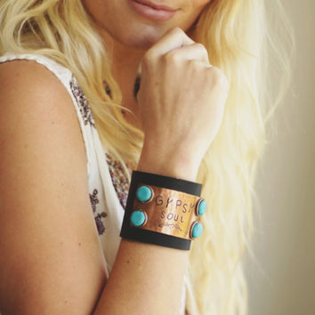 Gypsy Soul Leather Cuff Black