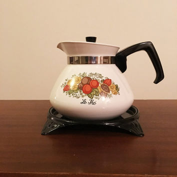 "Vintage 1960s Corning Ware 'Spice of Life"" Stove Top Kettle and Original Bench Top Tray / 6 Cup Coffee Pot / Retro Tea Pot"