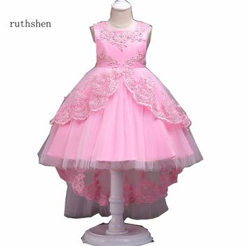 ruthshen Stunning Red/Pink/Rose/Purplue/Blue/White Ruffles Appliques Birthday Frocks Tiered Beads Flower Girl Dresses 2018