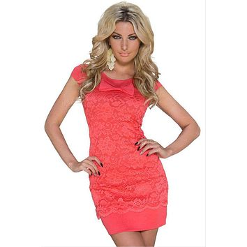 Red Floral Lace Dolly Bow Mini Dress