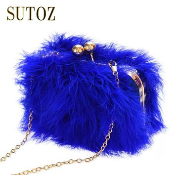 Ostrich Clutch Evening Bag Women Handbags Messenger Chain Purse Pouch Bags Luxury Designer Feather Frame Evening Bags BA338