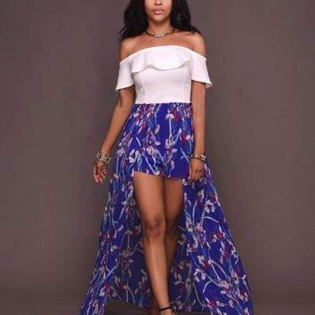 Chicloth Off the shoulder Floral High Low Dress