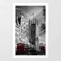 Red London Buses and Westminster Cathedral Art Print by Paul & Fe Photography