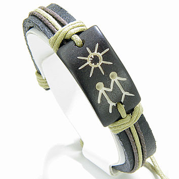 Love Couple And Sun Energy Leather And  Bracelet
