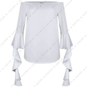 ICIKON3 foreign trade pattern one word lead petal seven part sleeve t shirts