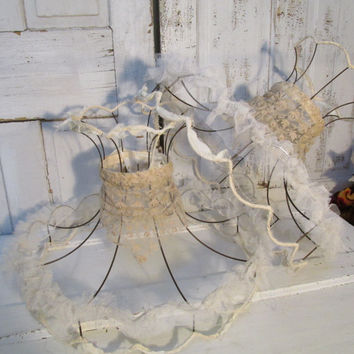 Lampshades shabby chic tattered lace ruffle and wire lamp shades vintage farm house lighting decor anita spero
