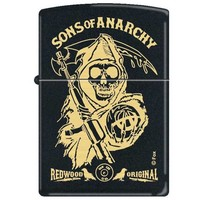 Zippo 4745 Classic Black Matte Sons of Anarchy Grim Reaper Windproof Pocket Lighter