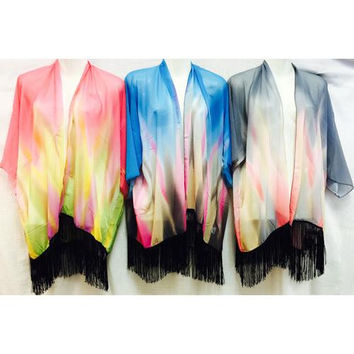 Tie Dye Kimono Cover Up with Fringe