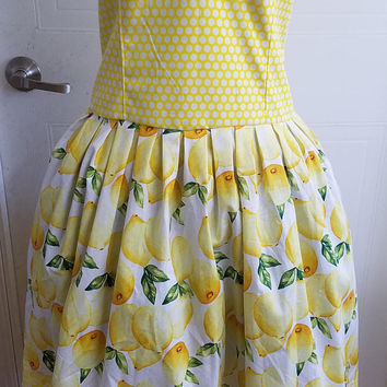 Lemon - drop - polka - dot - pinup - rockabilly - rockabella - spring - summer - strapless - dress