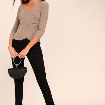 Just My Type Taupe Long Sleeve Wrap Top