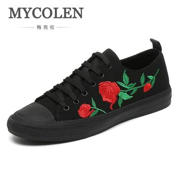 MYCOLEN New Brand Fashion Shoes Men Casual Trending Footwear Black Canvas Handmade Lace-Up Tide Men Shoe Sapato Masculino Luxo