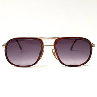 PACO RABANNE!!! Vintage 1970s 'Paco Rabanne' tortoiseshell and metal rimmed sunglasses with dark grey glass lenses
