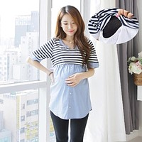 8178# Ties Waist Striped Patchwork Cotton Maternity Nursing Blouses 2017 Summer Breastfeeding Shirts Clothes for Pregnant Women