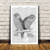 Owl poster Modern decor Bird art Dictionary print RTA277