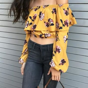 2018 Yellow Floral Ruffle Crop Off Shoulder Mexican Long Sleeve Backless Cute Blouse