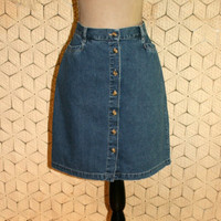 Vintage Denim Skirt Button Up Jean Skirt Short Denim Skirt Midi Skirt Women Skirts Gloria Vanderbilt Size 14 Skirt Large Womens Clothing