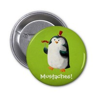 Cute Penguin with Mustaches Pinback Buttons from Zazzle.com