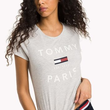 Tommy Hilfiger Woman Gray Casual Tee Shirt T-shirt