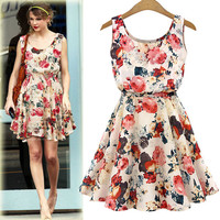 2015 New Fashion Design European party sexy Flower prints Slim Dress Femininas Spring Summer Clothing