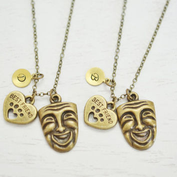 mask necklace,personlized best fiends necklace,friendship gift,bff,theatre masks,art charm,acting necklace,phantom of the operate inspired