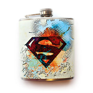 Superman Inspired Abstract Art Flask DC Comics Comic Book Superhero Gift
