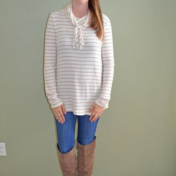 Cuddle Together Striped Cowl Neck Top: Mocha and Cream
