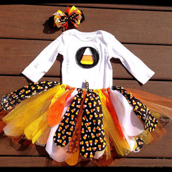 Candy Corn outfit, Thanksgiving Outfit,  Halloween Outfit,Fall outfit - shabby Chic skirt, fall tutu