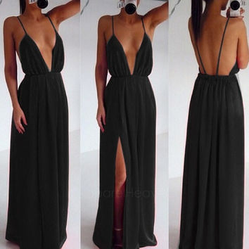 Sexy Women Strap V Neck Backless Summer Maxi Party Cocktail Evening Dress AP = 5979072257