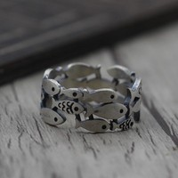 Thai Silver Personality Hollow Small Fish Men And Ring S925 Sterling Silver Jewelry Ring Ancient