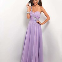 Lilac Gathered Chiffon Rhinestone One Shoulder Prom Dress - Unique Vintage - Cocktail, Pinup, Holiday & Prom Dresses.