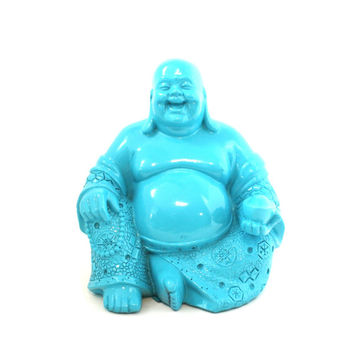 turquoise buddha statue, buddai, laughing buddha, home decor, zen, buddhist, good fortune, blue, spiritual statues