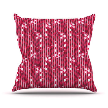 "Allison Beilke ""Candy Cane Lane"" Pink Red Outdoor Throw Pillow"