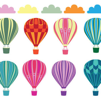 Hot Air Balloon Clip Art Images, 8 colorful balloons and 5 clouds, handmade illustrations for card making, diy parties, graphic design