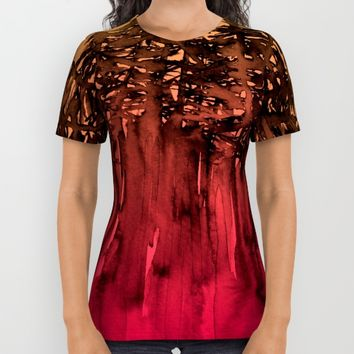 FOREST THROUGH THE TREES 12 Hot Pink Magenta Orange Black Landscape Ombre Abstract Painting Outdoors All Over Print Shirt by EbiEmporium