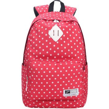 Red Lightweight Canvas Stylish Casual Backpack School Bookbag Travel Bag