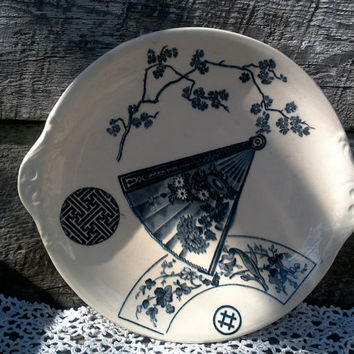 "ANTIQUE Blue and White Cake Plate, Serving Plate, Dual Handles, ""PB & S Miako"", Oriental Pottery, Transferware, Transferware, Serving"