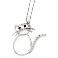 Cheryl M Sterling Silver CZ Cat 18in. Necklace