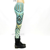 B52 Mint Aztec Tribal Foil Leggings