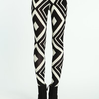 Retro Diamond Print Leggings
