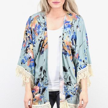 Frayed Fringe Watercolor Floral Kimono {Dusty Sage}