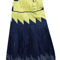 Mogul Interior Womens Maxi Skirt Blue Printed Windy City A-Line Flare Sexy Boho Hippie Long Skirt