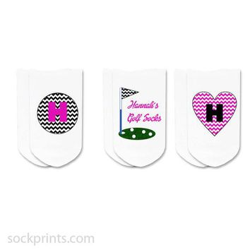 Personalized Custom Golf Socks: Monogram & Chevron No-Show Socks by Sockprints - Womens White Socks - MEDIUM - Cotton - Eco-friendly - 3 pair set