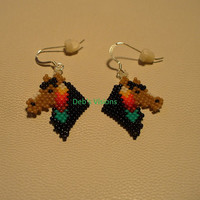 Native American Style brickstitched Horse with Feather earrings